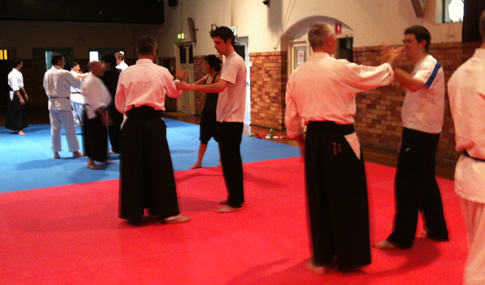 Beginners learning Aikido at the Ku-ring-gai dojo, Sydney